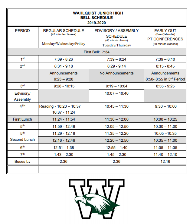 Bell Schedule Pic
